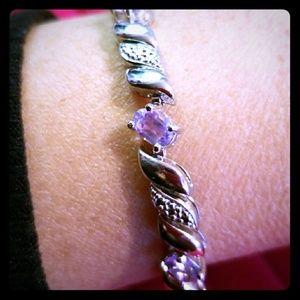 San Marco Bracelet, Silver Amethyst&Diamond Accent